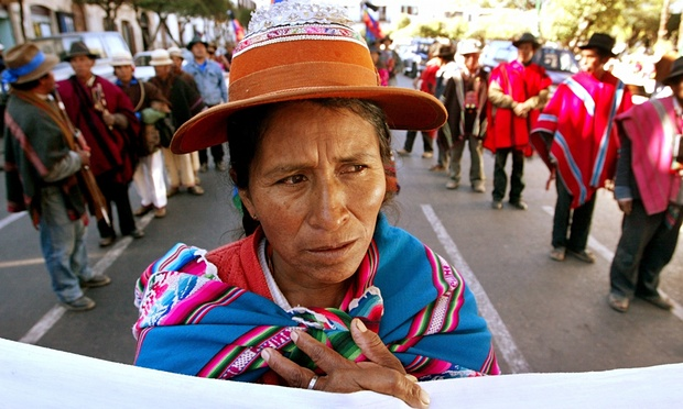 An indigenous woman in Bolivia where moves to frack are meeting with increasing concern among civil society. Photograph: Jose Miguel Gomez/Reuters, 2015